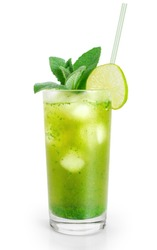 Mojito cocktail with fresh limes isolated on white background