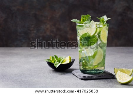 Mojito cocktail with lime and mint in highball glass on a grey stone background Copy space
