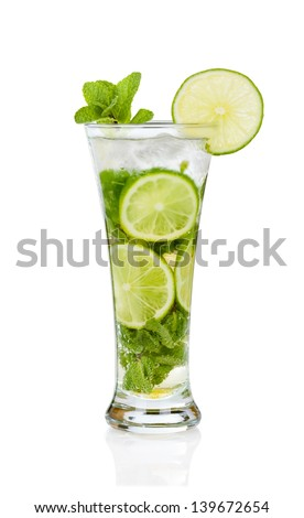 Mojito cocktail with mint twig on white