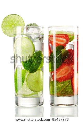 Mojito cocktails - original and strawberry isolated on white