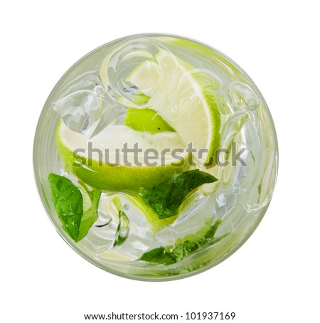 Mojito drink, top view, isolated on white background