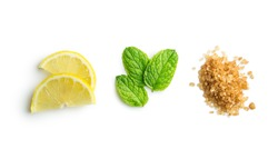 Mojito ingredients. Lemon, mint and cane sugar isolated on white background. Sweet sugar, mint leaves and lemon.