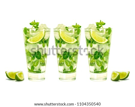 mojito isolated on white background. Three glasses of mojito. summer party, design layout