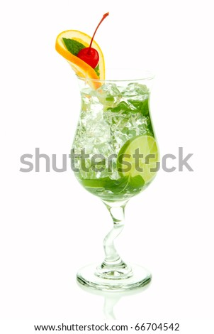 Mojito tropical cocktail with bacardi light rum, vodka, lime, spring of spearmint, simple soda and syrup in cocktail glass isolated on a white background