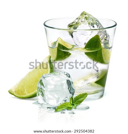 Mojito, vodka, gin or caipirinha cocktail with lime wedge isolated on white background #292504382