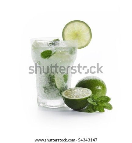 Mojito with limes and mint on White background