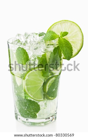 Mojitos cocktail with lime, ice and mint delicious summer drink