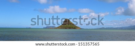 Mokolii, aka Chinaman's Hat. A small tropical island off the coast of Oahu.