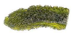 Moldavite detail. Green semiprecious stone of alien origin isolated on white background. Beautiful raw vitreous silica. Wavy meteoric glass of wrinkly mossy pattern. Gem found near Czech Vltava river.