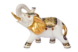 molded elephant white figure that have Thai design on white background ,