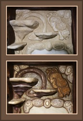 Molded shelves in the form of mushrooms and stucco tiger with decorative stones in kitchen interior before and after painting.