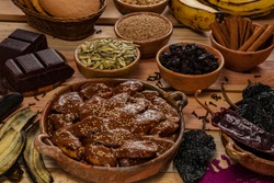 Mole, a traditional dish of Guatemalan gastronomy, made with spices, chocolate, chili peppers and ripe bananas.