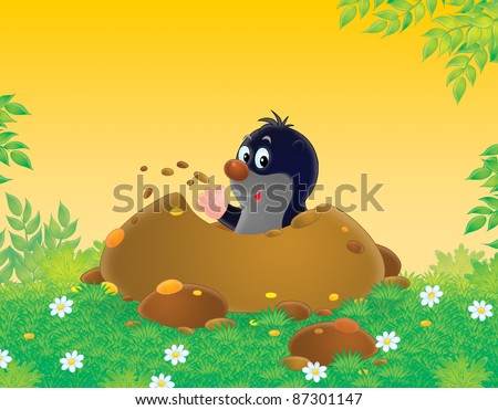 mole burrowing his house into a lawn