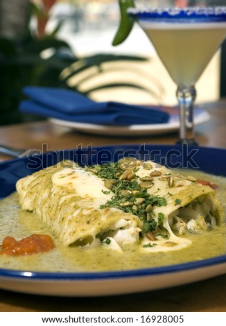 Mole chicken burritos with basil and pumpkin seeds - stock photo