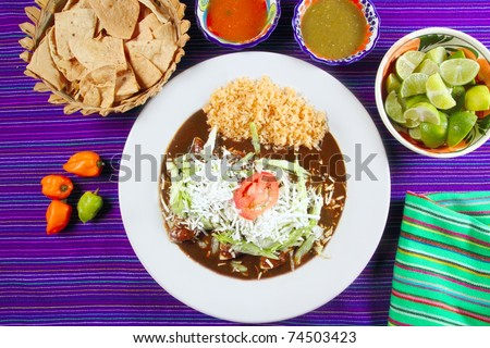 Mole enchiladas mexican food with chili sauces and nachos lemon habanero
