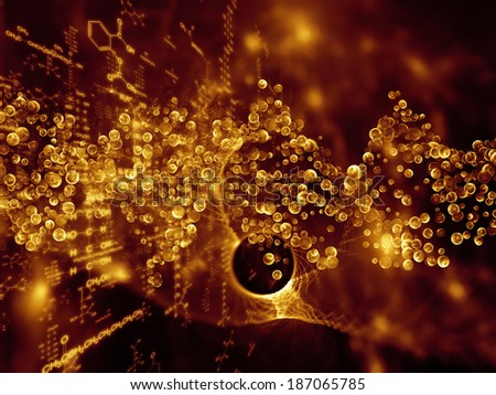 Molecular Dreams series. Creative arrangement of conceptual atoms, molecules and fractal elements to act as complimentary graphic for subject of biology, chemistry, technology, science and education
