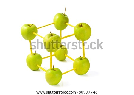 molecular model made of apples - stock photo