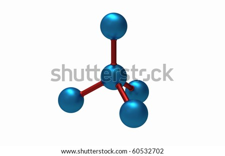 Molecular model of diamond 3D render isolated on white - stock photo