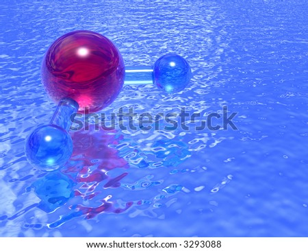 Molecular model of H2O reflected in a pool of clean blue water