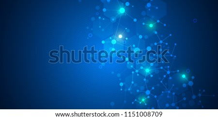 Molecular structure background and communication. Abstract background from molecule DNA. Medical, science and digital technology concept with connected lines and dots