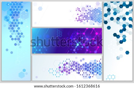 Molecular structure banners. Abstract hexagonal grid, chemistry structures and dna model science. Biology medicine poster, biological data or biotechnology  banner illustration set