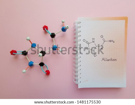 Molecular structure model and structural chemical formula of Allantoin molecule. Allantoin is a diureide of glyoxylic acid, it is used in cosmetics. Black=C, red=O, blue=N, white=H.
