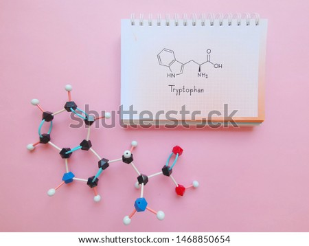 Molecular structure model and structural chemical formula of tryptophan molecule. Tryptophan (Trp, W) amino acid molecule, used in the biosynthesis of proteins. Black=C, red=O, blue=N,white=H.