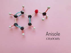 Molecular structure model of anisole. Anisole (methoxybenzene, methyl phenyl ether) is a colorless liquid with an odor of anise, it is a precursor to perfumes, insect pheromones, and pharmaceuticals.