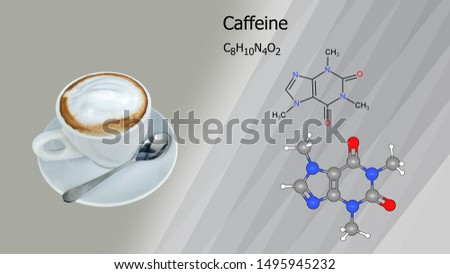 Molecular structure of caffeine  Which is in the coffee