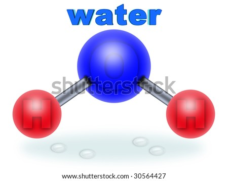 molecular structure of water. two parts hydrogen one part oxygen