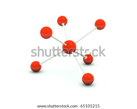 Molecule isolated on white. Red series