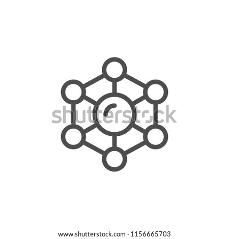 Molecule line icon isolated on white