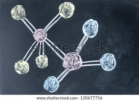 molecule model drawn with chalk on blackboard