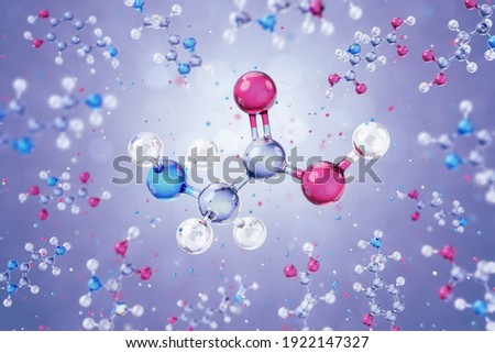 Molecule of Glycine. The 3D model of a glycine amino acid in form of a schematic molecular structure freely levitating among of other organic substances. 3D-rendering graphics. Stock photo ©