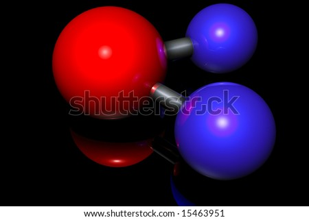 Molecule of water on black - stock photo