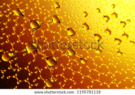 Molecule structure. Science background with hydrocarbon molecules. 3d illustration.