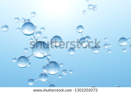 Molecules and atoms in blue background. Science and medical background for banner or flyer. Molecular structure at the atomic level. 3d rendering - Illustration.