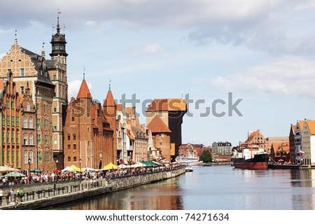 Moltawa river quay in Gdansk, Poland