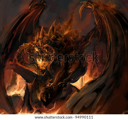 molten dragon rage at vulacno - stock photo