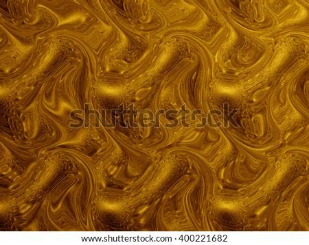 Molten Gold Fractal, Interesting Vibrant Artwork Or Background, 3D illustration #400221682