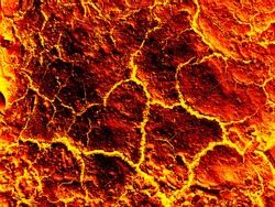 Molten lava surface is red hot after a volcanic. eruption background art