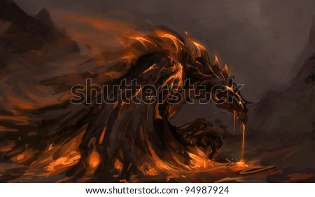 molten rock dragon rising from stones