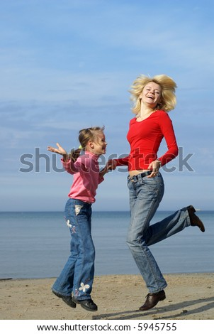 Mom and daughter enjoying freedom