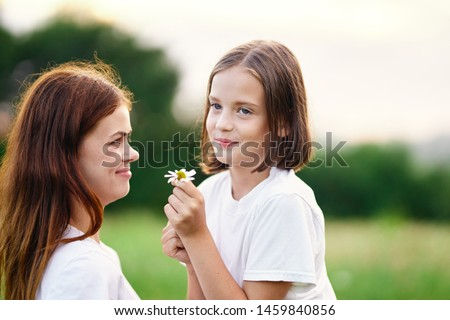 Mom and daughter fun flowers decoration leisure health leisure love #1459840856