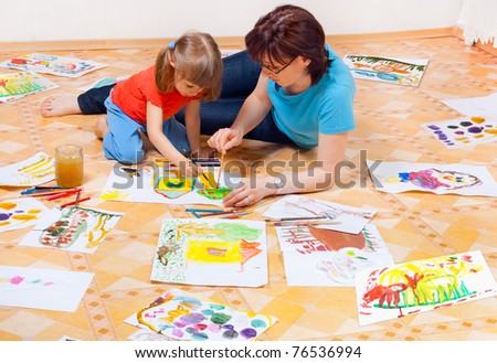 Mom and daughter painted on the floor