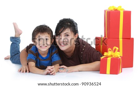 mom and kid with a stack of gift. isolated over white background