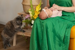mom and newbornbaby at home. Pet at home. Green dress colour