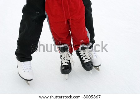 mom and son skating