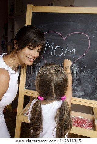 mom concept at blackboard