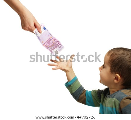 Mom gives pocket money to his son, isolated on white